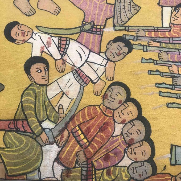 20th Century Ethiopian Battle Scene African Tribal Folk Art Painting For Sale 7