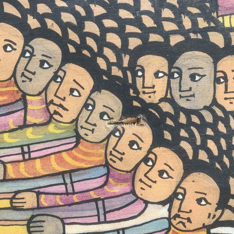 20th Century Ethiopian Battle Scene African Tribal Folk Art Painting For Sale 8
