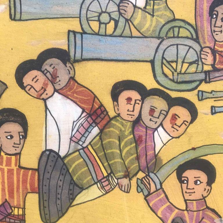 Hand-Painted 20th Century Ethiopian Battle Scene African Tribal Folk Art Painting For Sale