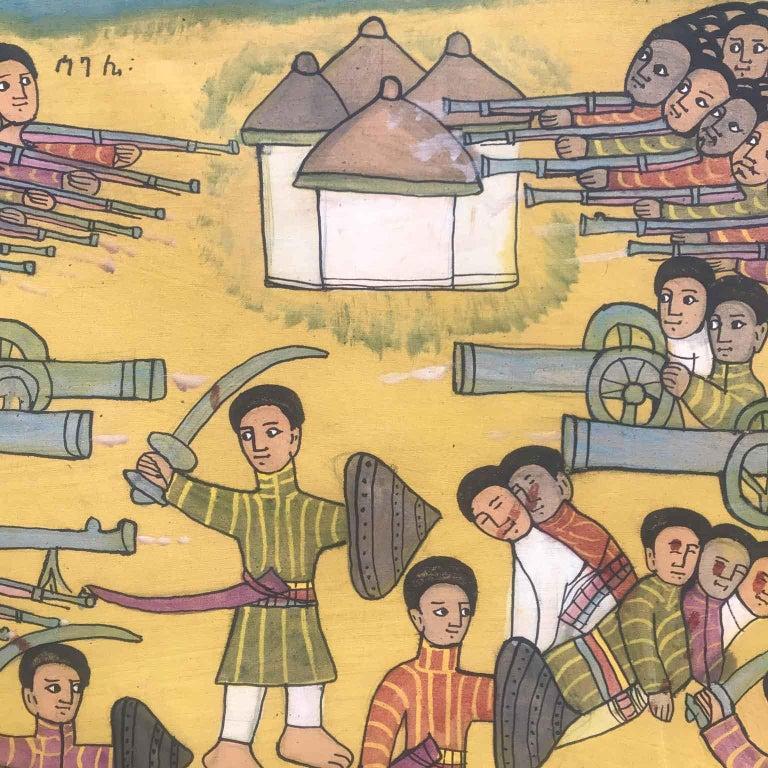 20th Century Ethiopian Battle Scene African Tribal Folk Art Painting In Fair Condition For Sale In Milan, IT
