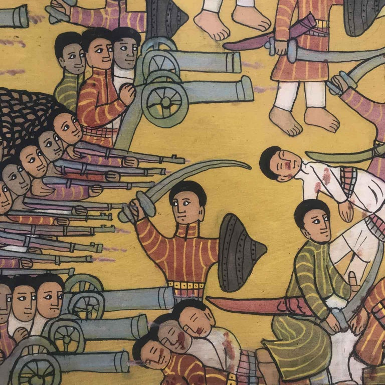Canvas 20th Century Ethiopian Battle Scene African Tribal Folk Art Painting For Sale