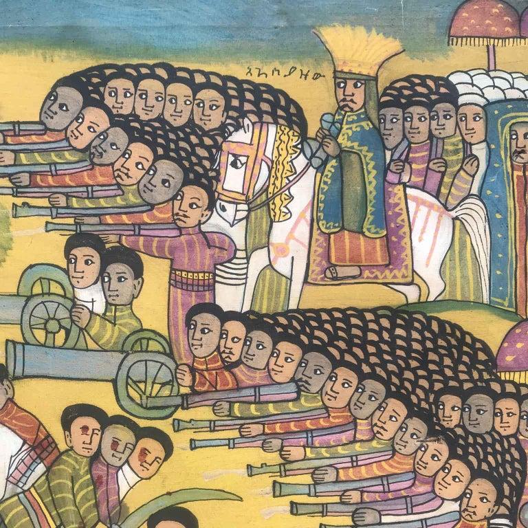 20th Century Ethiopian Battle Scene African Tribal Folk Art Painting For Sale 1