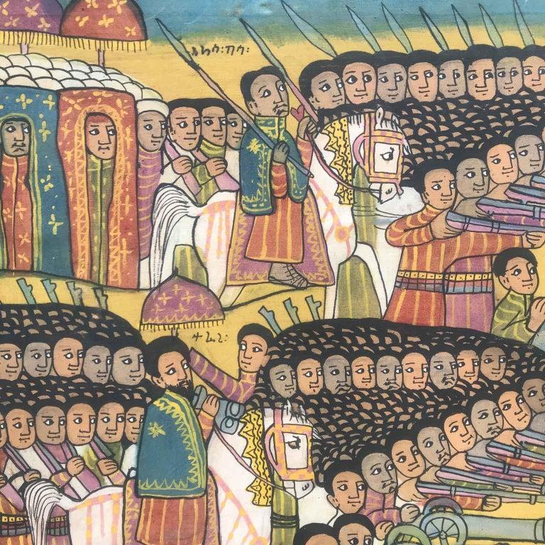 20th Century Ethiopian Battle Scene African Tribal Folk Art Painting For Sale 4