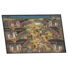 20th Century Ethiopian Battle Scene African Tribal Folk Art Painting