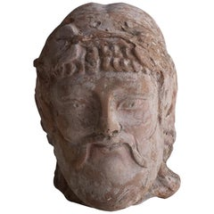 20th Century Etruscan Bacchus Head, Italian Terracotta Decor