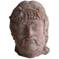 20th Century Etruscan Bacchus Head, Italian Terra Cotta Décor