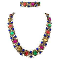 20th Century Etruscan Style Gold Molded Glass Choker Necklace & Bracelet S/2