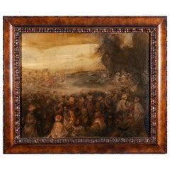 "20th Century European ""Arab Market"" Orientalist Oil on Canvas with Frame"