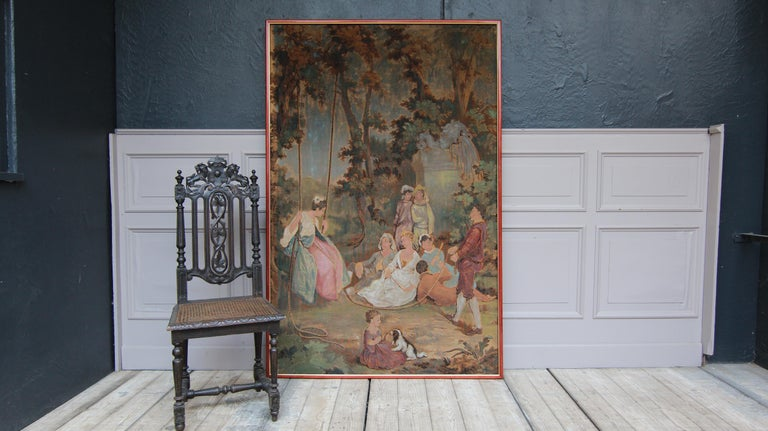 Gobelin or tapestry from the 20th century. Mounted on hardboard and newly framed. Partly re-colored.  Romantic depiction from the 18th century, presumably showing noble ladies and gentlemen having fun in the park.  Dimensions:  185.5 cm high /