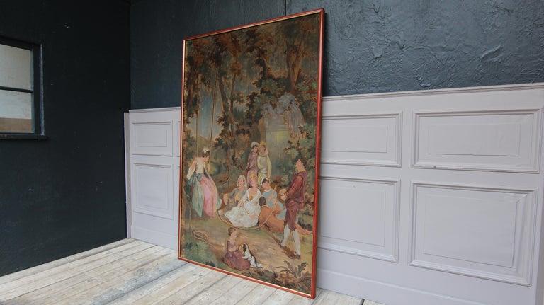 Baroque 20th Century European Romantic Framed Gobelin or Tapestry For Sale