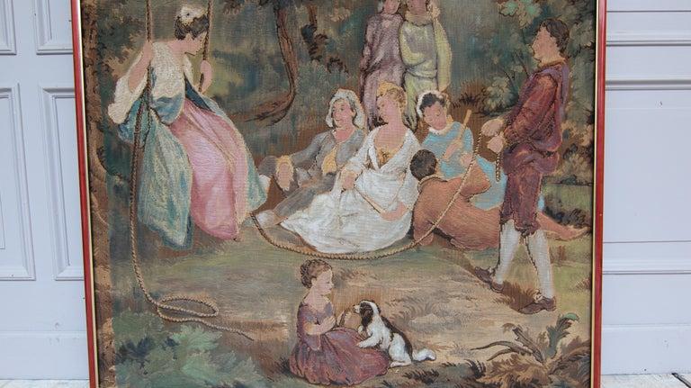 20th Century European Romantic Framed Gobelin or Tapestry For Sale 2