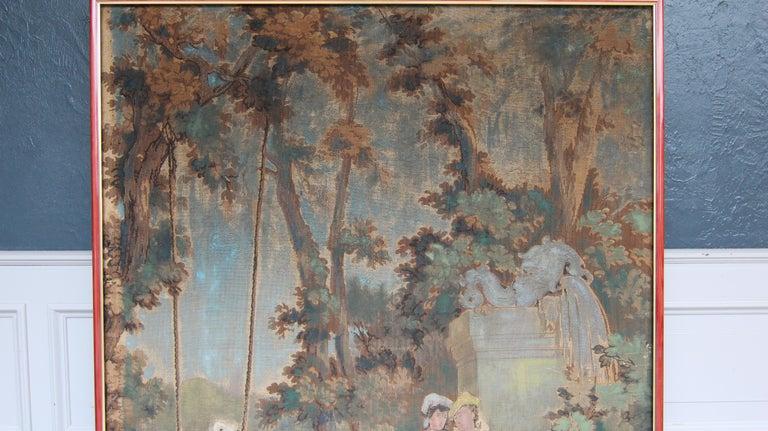 20th Century European Romantic Framed Gobelin or Tapestry For Sale 3