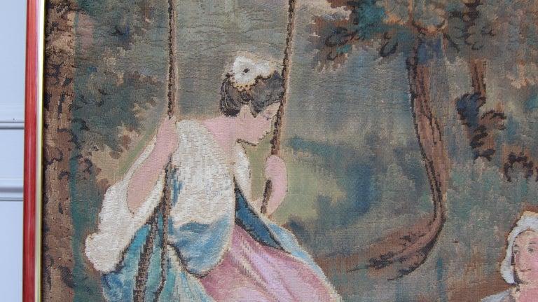 20th Century European Romantic Framed Gobelin or Tapestry For Sale 4