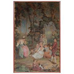 20th Century European Romantic Framed Gobelin or Tapestry