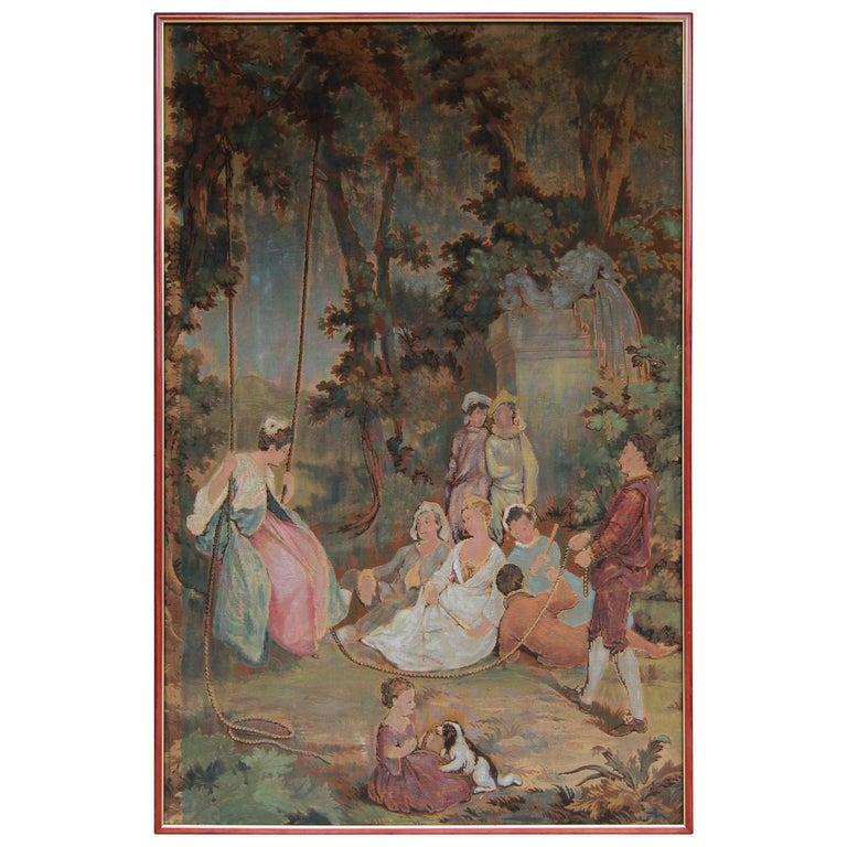 20th Century European Romantic Framed Gobelin or Tapestry For Sale