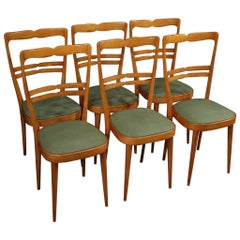 20th Century Exotic Wood and Faux Leather Italian Design 6 Chairs, 1970