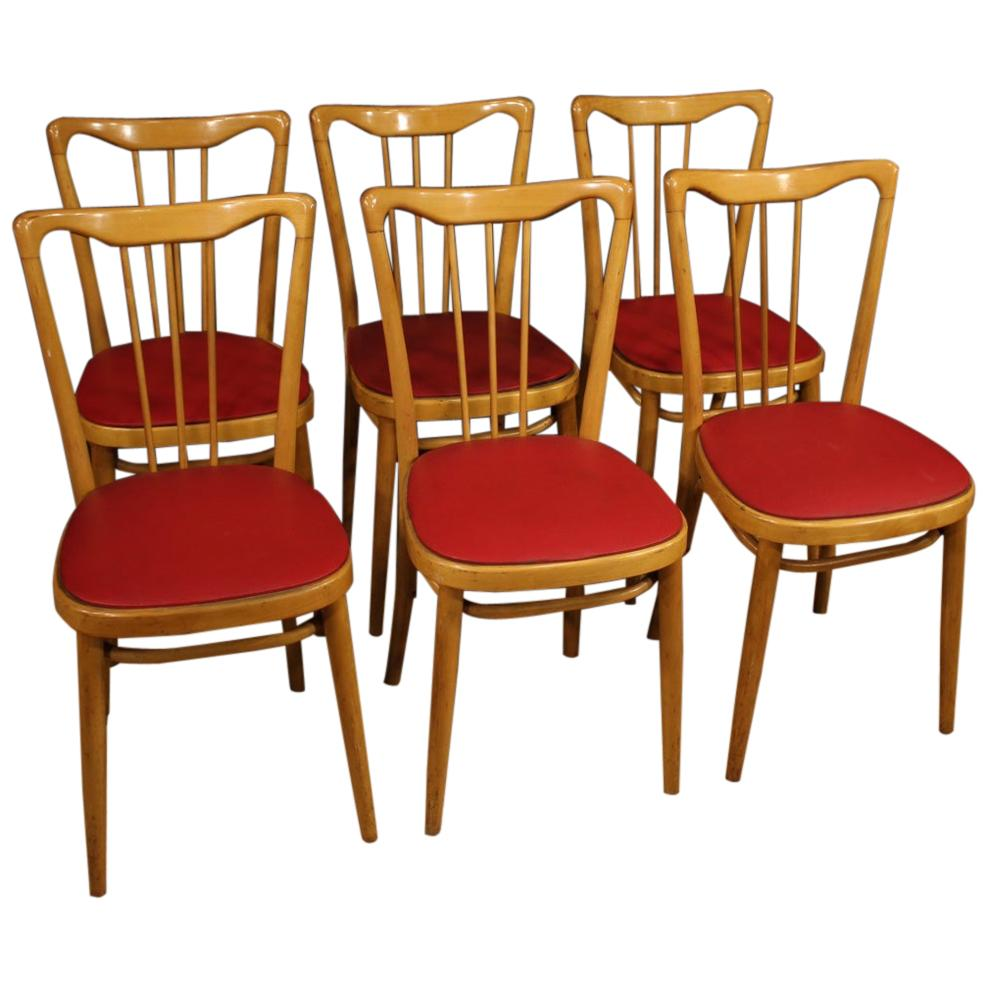 20th Century Exotic Wood and Red Faux Leather 6 Italian Design Chairs, 1960