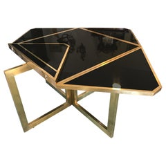 20th Century Extending Brass and Black Lacquer Romeo Rega Table, 1970s