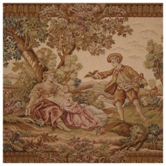 20th Century Fabric and Wood Romantic Style French Tapestry Landscape, 1970