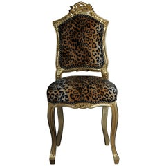 20th Century Fancy Chair in Louis XV Style, Velvet Leopard