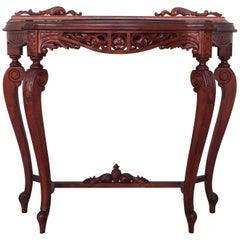 20th Century Fancy Rococo Style Italian Carved Mahogany and Glass-Top Console