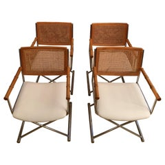 20th Century Faux Bamboo Director Chrome and Cane Chairs