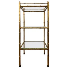20th Century Faux Bamboo Gilt Metal Three-Tier Étagère with Glass Shelves