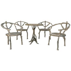 20th Century Faux Bois, French Garden Furniture Set