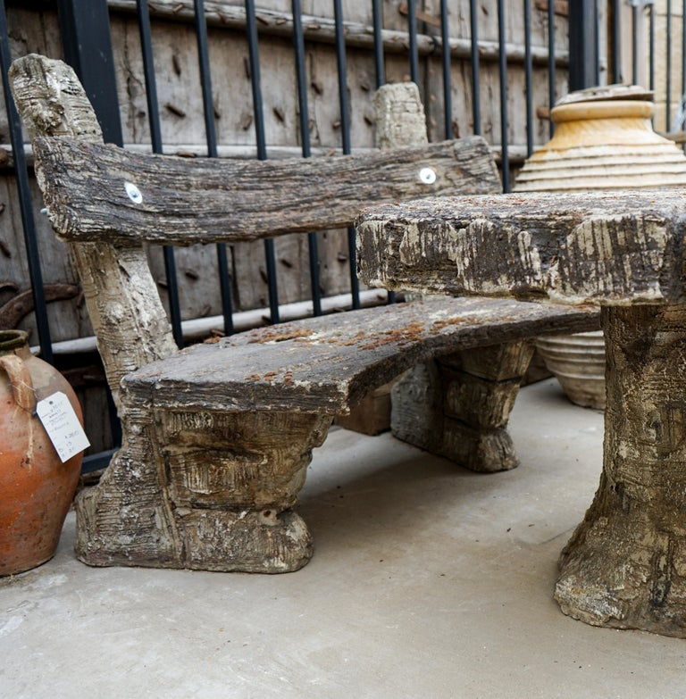 Other 20th Century Faux Bois Garden Table and Bench For Sale