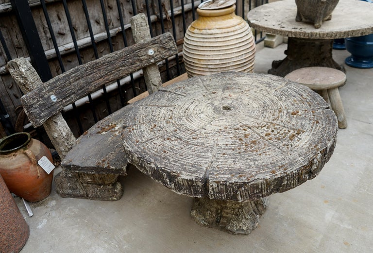 French 20th Century Faux Bois Garden Table and Bench For Sale