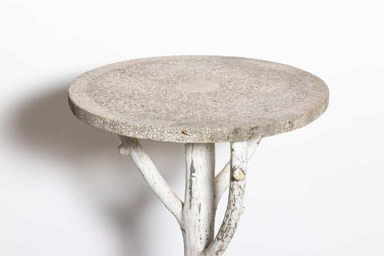 British Antique English Country Faux Bois Garden Table For Sale