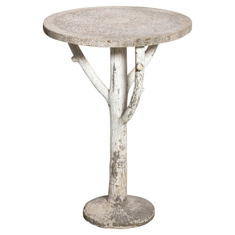 Antique English Country Faux Bois Garden Table For Sale