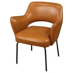 20th Century Faux Leather and Metal Italian Design Armchair, 1980
