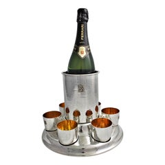20th Century Federico Buccellati Sterling Silver Wine Cooler Set Glasses, Italy