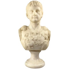 20th Century Fine White Marble Bust Of A Roman General