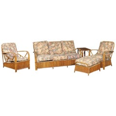 20th Century Five-Piece Rattan Set In the Style of Frankl