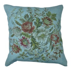 20th Century Floral Blue Over-Dyed Portuguese Needlepoint Pillow