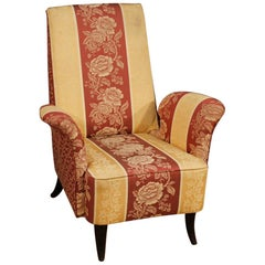 20th Century Floral Fabric and Wood Italian Ulrich Style Design Armchair, 1950