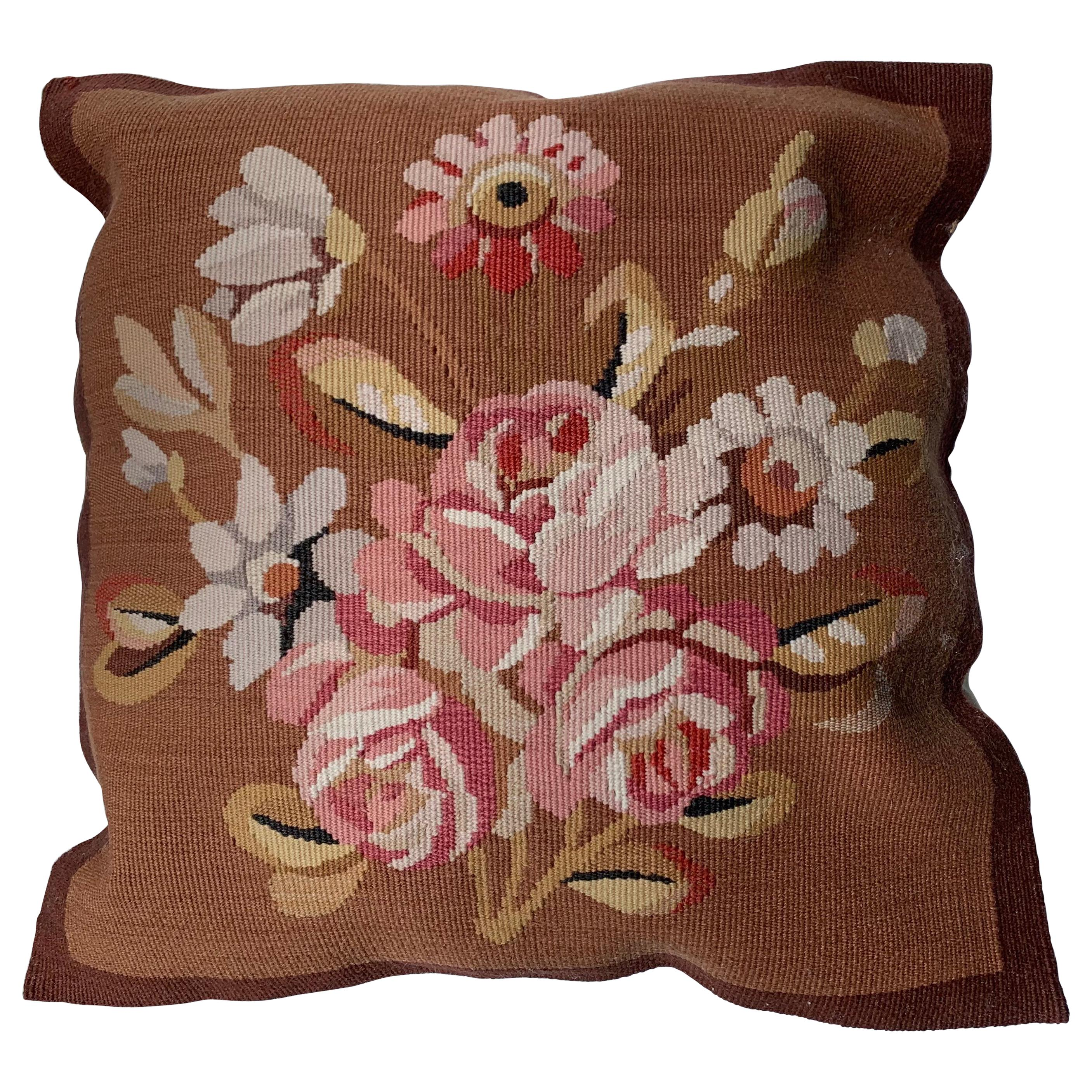 20th Century Floral French Aubusson Tapestry Style Needlepoint Square Pillow