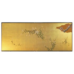 20th Century Flowers Painted on Gold Leaf, Furosaki Japanese Folding Screen