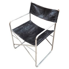 20th Century Folding Chrome Chair with Goat Leather