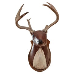 20th Century Folky Carved and Painted Whitetail Deer mount