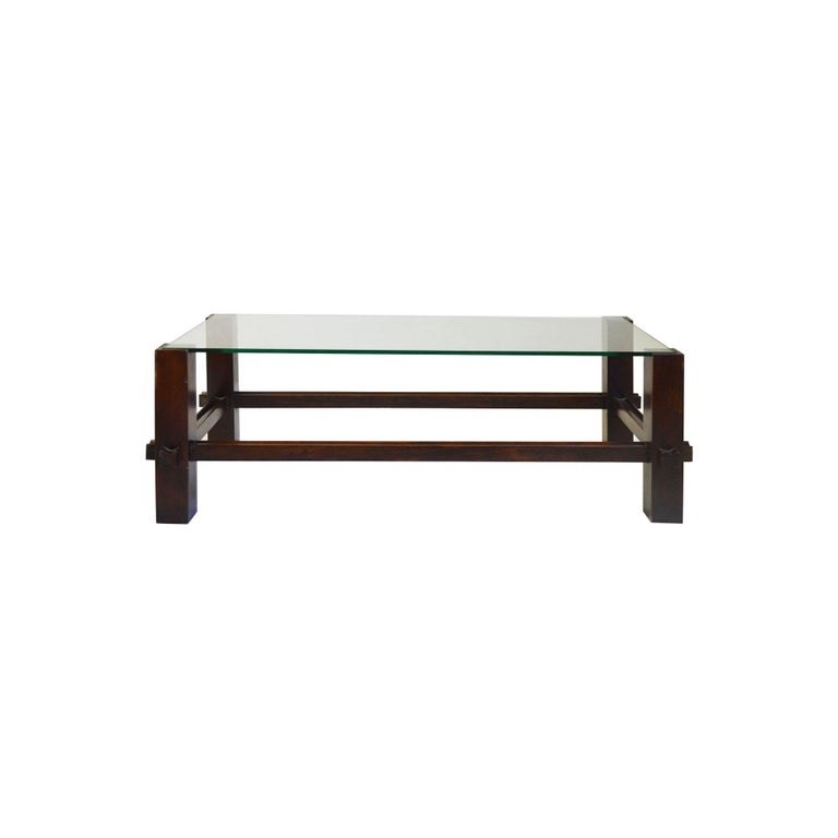 Mid-Century Modern 20th Century Fontana Arte Coffee Table Model 2461 in Wood and Glass For Sale