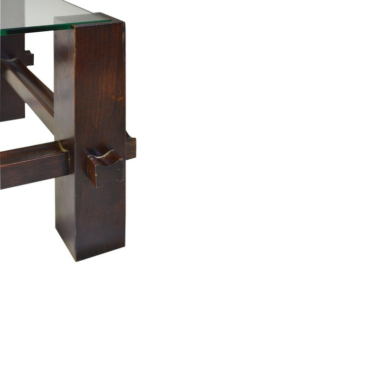 20th Century Fontana Arte Coffee Table Model 2461 in Wood and Glass In Good Condition For Sale In Turin, IT