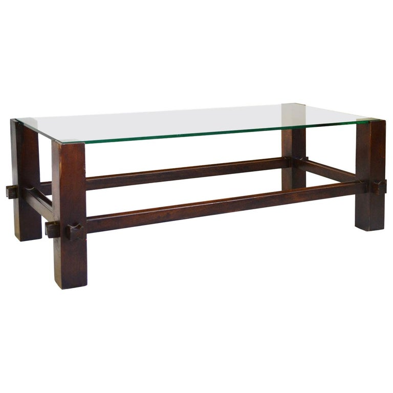 20th Century Fontana Arte Coffee Table Model 2461 in Wood and Glass For Sale