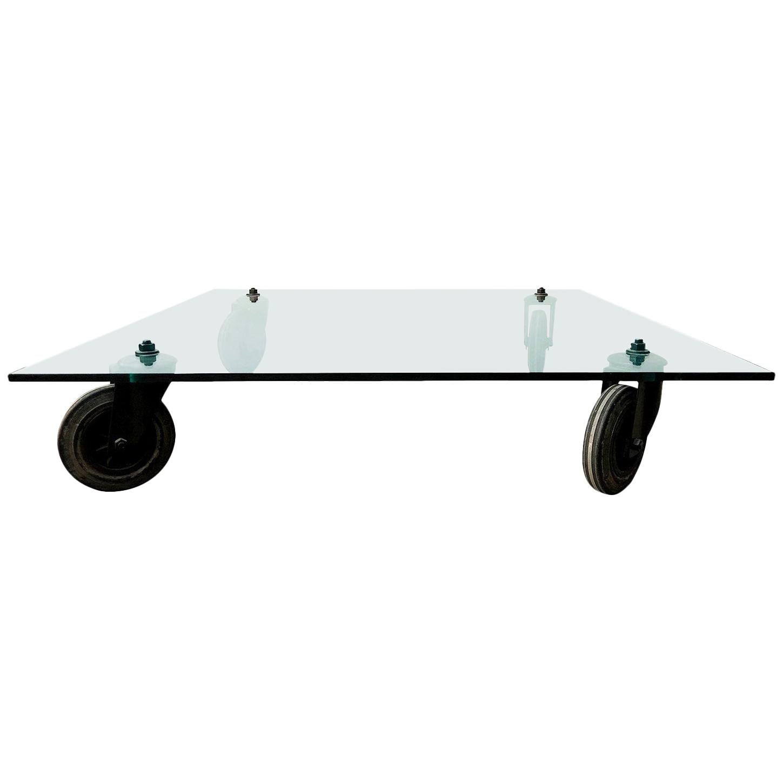 20th Century Fontana Arte Glass Coffee Table, Italian Side Table by Gae Aulenti