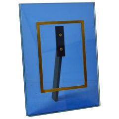 20th Century Fontana Arte Picture Frame Mod. N. 2426 Crystal and Brass Frame