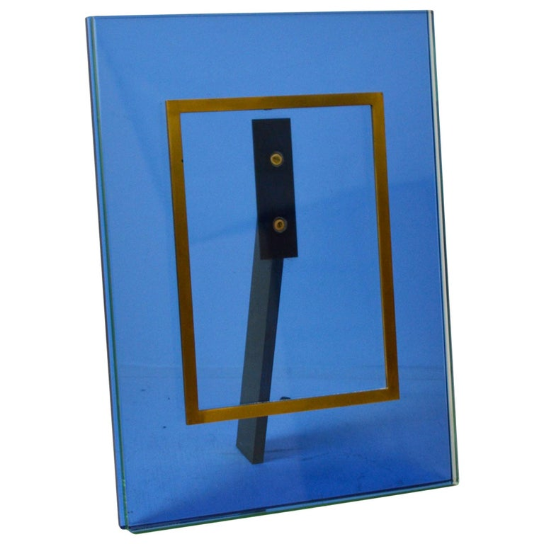 20th Century Fontana Arte Picture Frame Mod. N. 2426 Crystal and Brass Frame For Sale