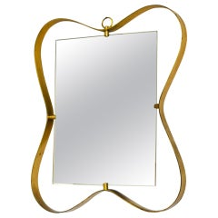 20th Century Fontana Arte Wall Mirror with Frame in Brass