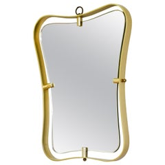 20th Century Fontana Arte Wall Mirror with Frame in Shaped Brass